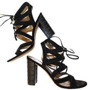 Sam Edelman YARDLEY Suede lace up sandals in black